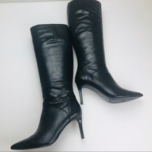 Ninewest Knee High Black Leather Boot